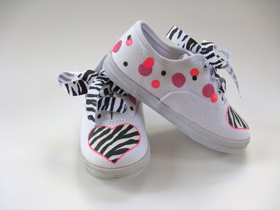 Zebra Shoes, Zoo Theme Party, Zebra Outfit, Zebra Stripes, Birthday Party Sneakers, Hand Painted Animal Print Sneakers for Baby or Toddlers