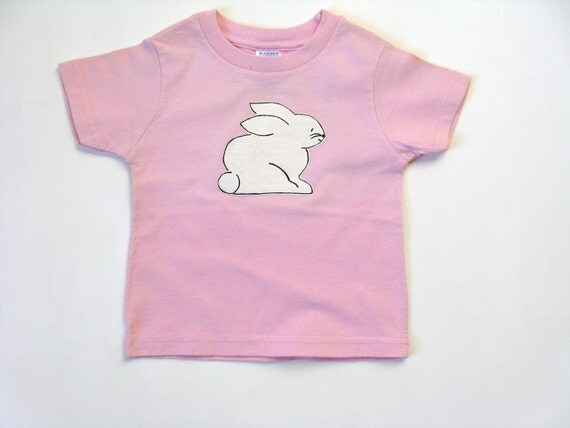Girls Rabbit Tee or Top, Kid's Hand Painted Pink T Shirt, Easter Bunny, Baby and Toddler