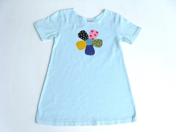 Girls Flower Dress, Crazy Daisy, Flower Theme Birthday, Flower Outfit, Blue Dress,  Hand Dyed, Hand Painted, Cotton A Line Dress, Toddler