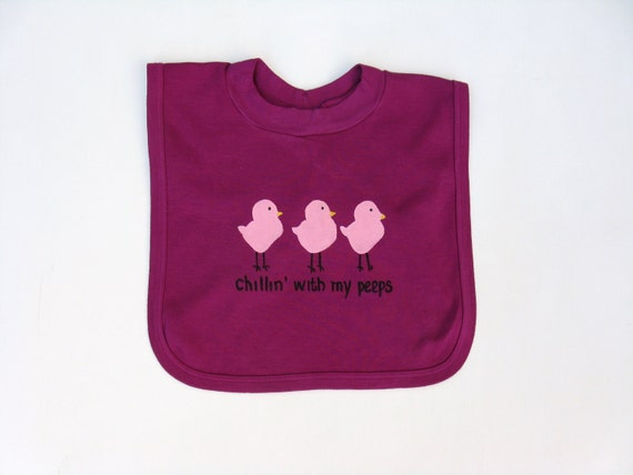 Baby Girls Bib, Infant or Toddler, Chicks or Peeps, Hand  Painted, Cotton Pullover Bib, Hand Dyed