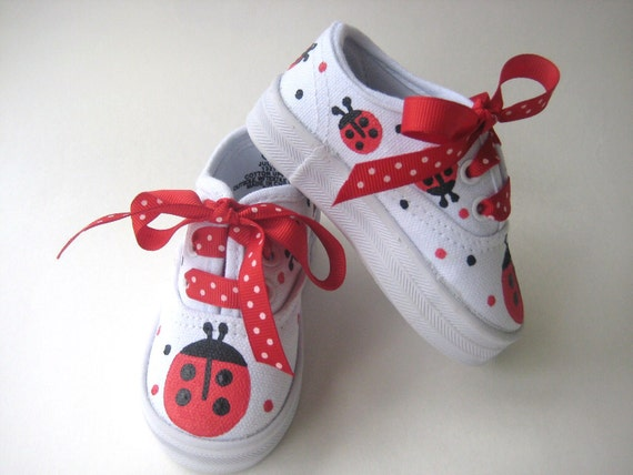 Girls Red Ladybug Shoes, Kids Hand Painted Cotton Canvas Sneakers, Baby and Toddlers