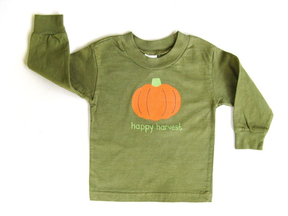 Pumpkin Shirt, Kid's Hand Painted Thanksgiving Tee or Top, Boys or Girls, Autumn and Fall