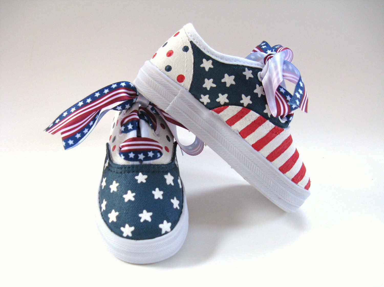 Girls patriotic shoes kid s 4th of july by boygirlboygirldesign