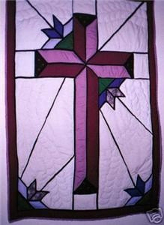 Items Similar To Stained Glass Cross And Tulips Queen