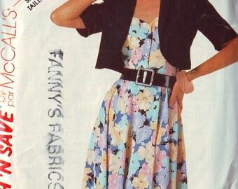 mccall's 2323, vintage 80s sleeveless sun dress pattern and bolero jacket pattern, size 6, bust 30.5 FREE SHIPPING to canada and usa