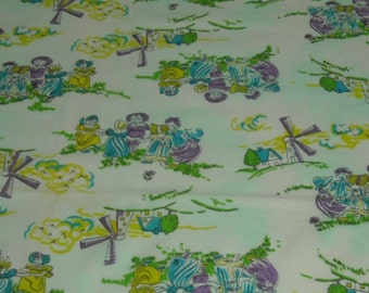 vintage 70s juvenile novelty fabric featuring cute dutch kids and windmill motif, 24 inches