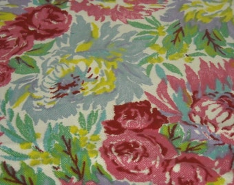 vintage 80s novelty print fabric, featuring big floral design, 1 yard, 2 available priced PER YARD