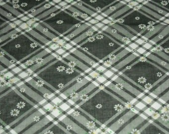vintage 70s novelty floral print fabric, featuring cute flocked daisies on plaid, 2 yards available, priced PER YARD