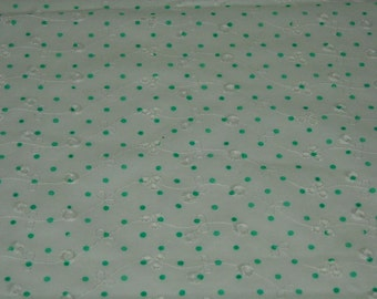 vintage 70s novelty eyelet fabric, featuring polka dot and floral design, 1 yard