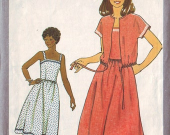 simplicity 8518, vintage 70s dress and jacket pattern, size 8, bust 31.5 FREE SHIPPING to canada and usa