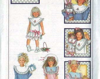 simplicity 8594, vintage 80s daisy kingdom children's dress pattern UNCUT, toddler size 6, chest 25 FREE SHIPPING to canada and usa
