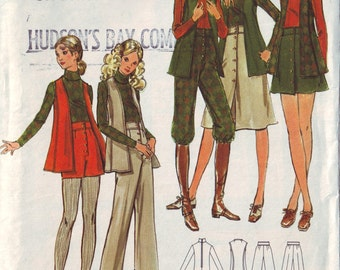 butterick 6472, vintage 70s women's separates pattern UNCUT, junior size 7, bust 31 FREE SHIPPING to canada and usa