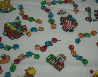 """SALE vintage 80s novelty print fabric, featuring super cute nursery toys design, 11"""" wide x 1 yard, 16"""", 6 available, priced PER PANEL"""