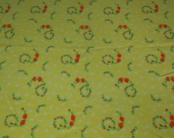 vintage 70s yellow t-shirt knit fabric featuring great rose and polka dot print, 1 yard, 2 available priced PER YARD