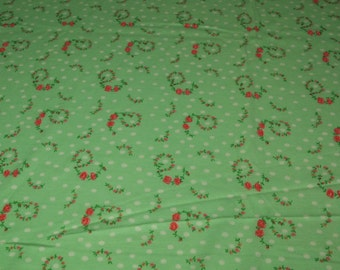 vintage 70s mint green t-shirt knit fabric featuring great rose and polka dot print, 1 yard, 3 available priced PER YARD