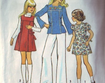 simplicity 7035, vintage 70s girls' dress pattern, size 7, chest 26 FREE SHIPPING to canada and usa
