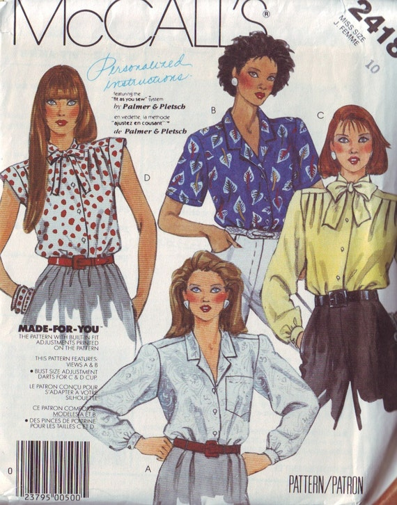 mccall's 2418, vintage 80s women's blouses pattern UNCUT, size 10, bust 32.5 FREE SHIPPING to canada and usa