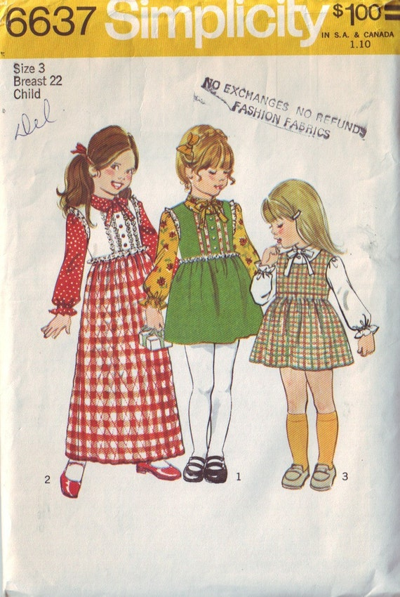 simplicity 6637, vintage 70s children's jumper dress and blouse pattern, toddler size 3 years, chest 22, FREE SHIPPING to canada and usa