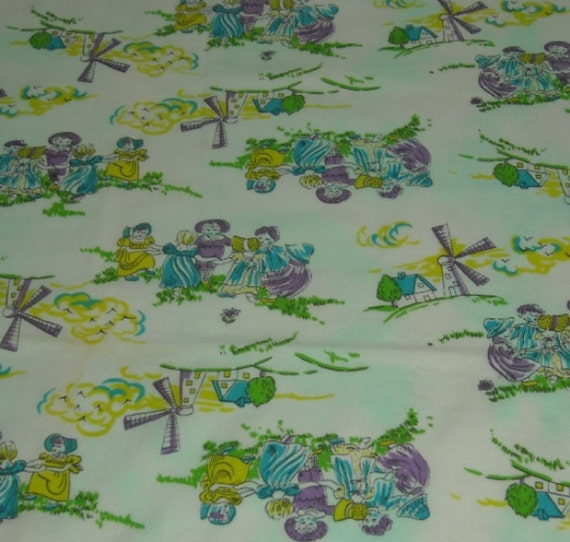 SALE vintage 70s juvenile novelty fabric featuring cute dutch kids and windmill motif, 24 inches