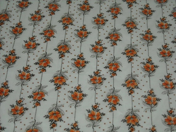 vintage 70s novelty floral print fabric, featuring lovely flower and polka dot wallpaper print design, 1 yard