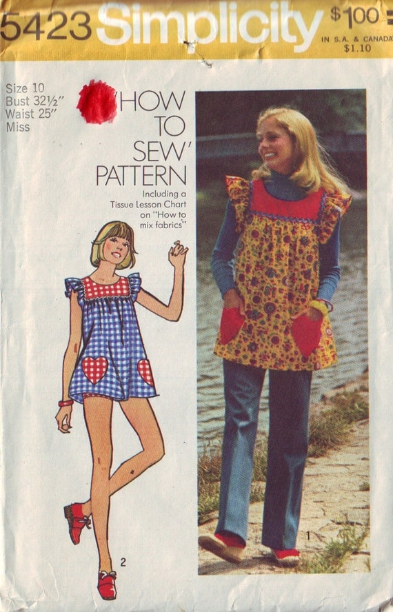 simplicity 5423, vintage 70s top, pants and panties pattern UNCUT size 10, bust 32.5 FREE SHIPPING to canada and usa