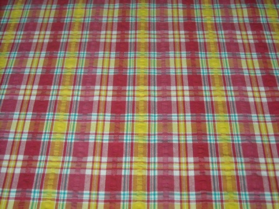 RESERVED FOR J WEI vintage 80s novelty fabric, featuring great plaid design, 1 yard