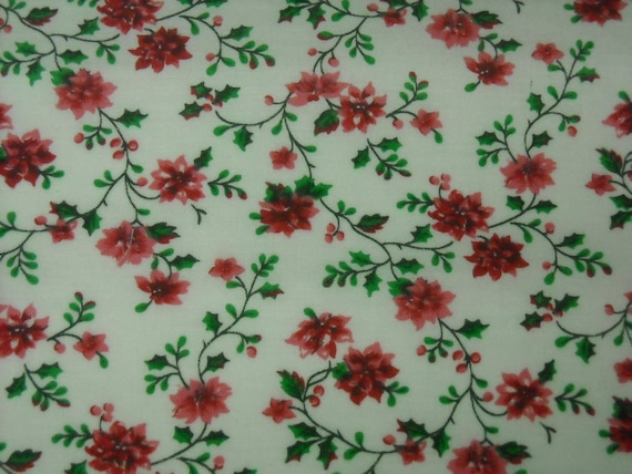 vintage 80s novelty fabric, featuring pretty red and pink floral design, 1 yard