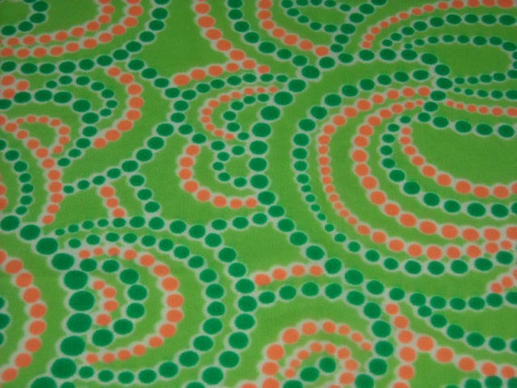 vintage 60s novelty print fabric featuring bold polka dot motif, 1 yard, 3 available PRICED PER YARD