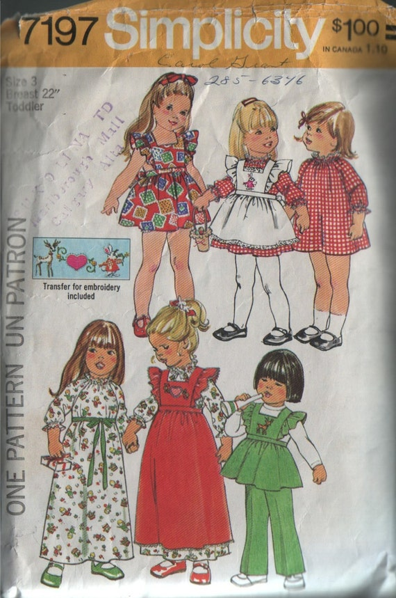 simplicity 7197, vintage 70s children's dress, pinafore and pants pattern, toddler size 3, chest 22