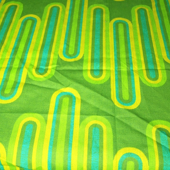 vintage 70s mod novelty print home dec fabric, featuring wild geometric motif, 1 yard, 28 inches