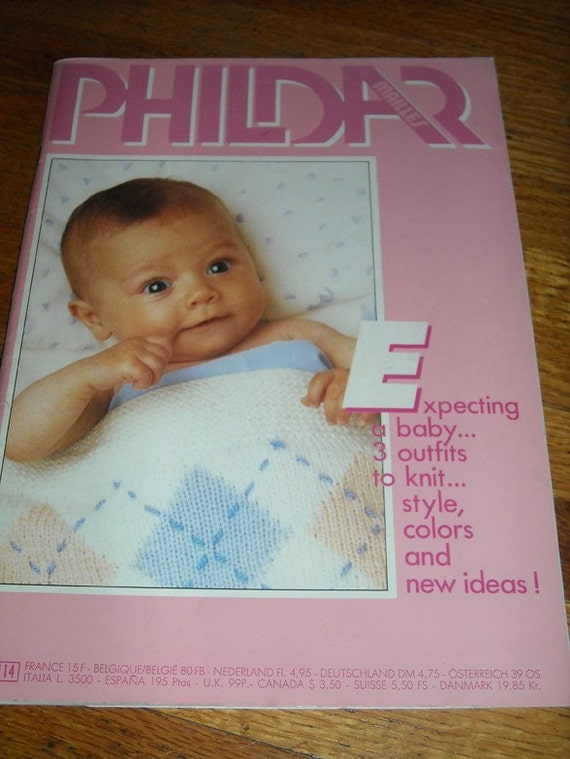 vintage 80s phildar baby layette knitting magazine book no.