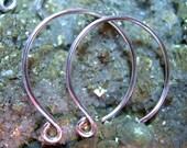 1 pair round ear wires - handmade in Argentium sterling silver