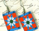 Indian Blanket Red White Blue Design Hand Crafted Earrings