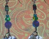 Celestial Blue Orbitz Dangling Beaded Earrings Iridescent Colors