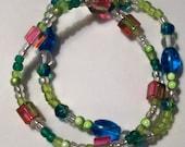 Rainbow Sherbert Double Strand Bracelet Glitzy and Glamorous