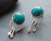 turquoise chrysocolla silver post earrings READY TO SHIP
