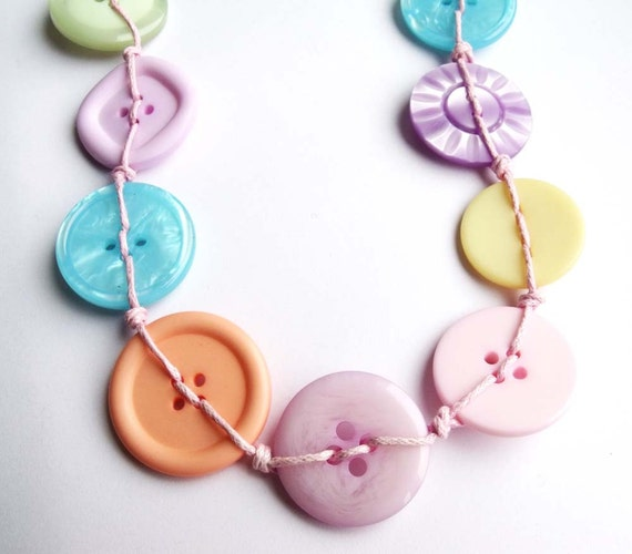 Pastel Button Necklace Long Unusual Pink