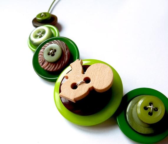 Green Button Necklace Button Choker Forest Dark Green Woodland Squirrel