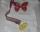 Butterfly cotton applique onesie and pacifier clip gift set