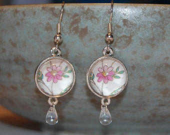 Glass Dome Silver Earrings, Pink Spring Flowers with Teardrop Beads