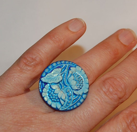 Czech Glass Button Teal Sunflowers Ring