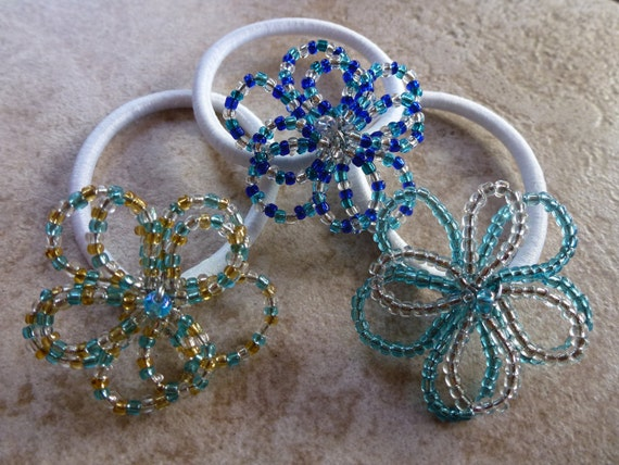 beaded flower ponytail holders
