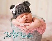 Girly Teddy Bear Hat - Newborn - stone gray - Handmade Photography Prop