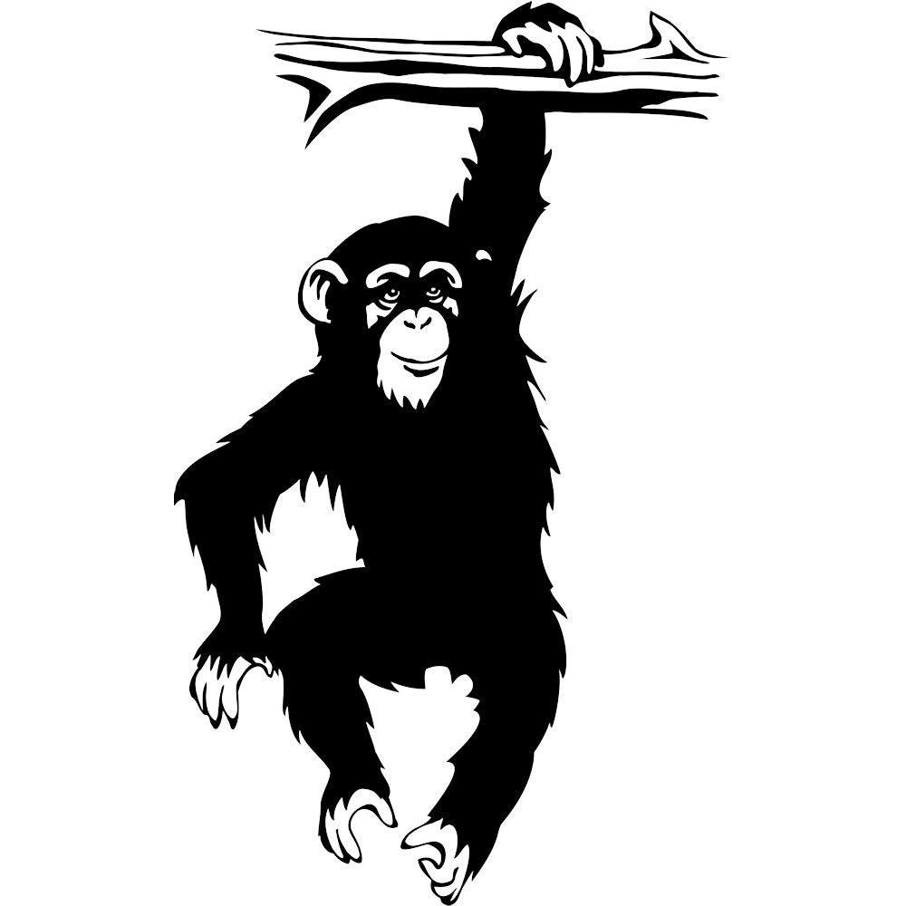 Vinyl decal chimpanzee monkey hanging on tree branch
