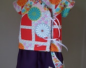 Japanese Kimono Top and Shoes with Appliqued Origami Pants Infant
