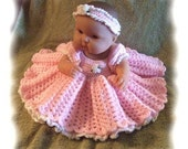 Crochet Pattern for 14 to 15 inch Berenguer Princess Bed Doll Dress Set
