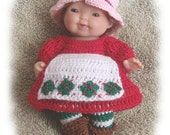 Crochet Pattern for Strawberry Outfit that fits the 5 inch Berenguer