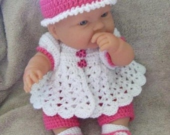 Crochet Pattern for 14 to 15 Inch Berenguer Baby A Capri Set