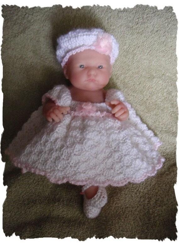 Crochet PATTERN for 9.5 Inch Berenguer Soft White Dress Set