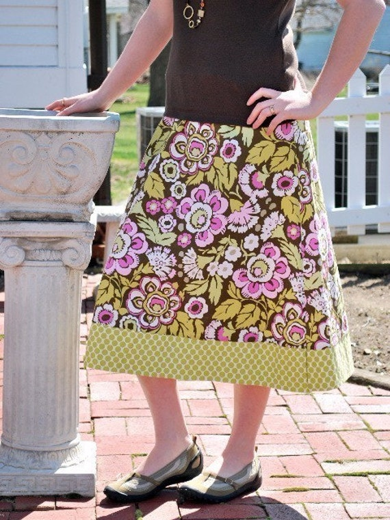 Sale Dandelion Rose Ladies A-Line Skirt Custom made Sizes Small, Medium, Large
